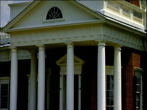 Tilt up on Monticello home of third President of the United States of America Thomas Jefferson Charlottesville