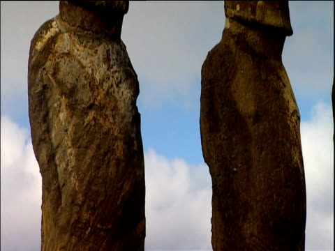 tilt up pair of moai statues easter island - polynesian culture stock videos & royalty-free footage