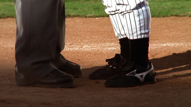 tilt up ms profile baseball manager + umpire arguing / tilt down manager kicks dirt at umpire - kicking stock videos & royalty-free footage
