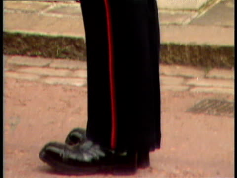 tilt up profile of soldier from grenadier regiment of foot guards on sentry duty queen mother's 88th birthday celebrations clarence house; 04 aug 88 - fare la guardia video stock e b–roll