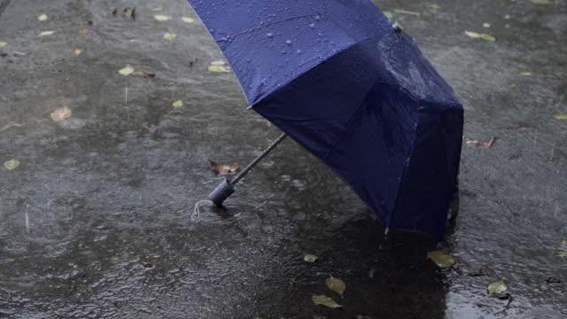tilt up slo mo rain and umbrella - anticipation stock videos & royalty-free footage