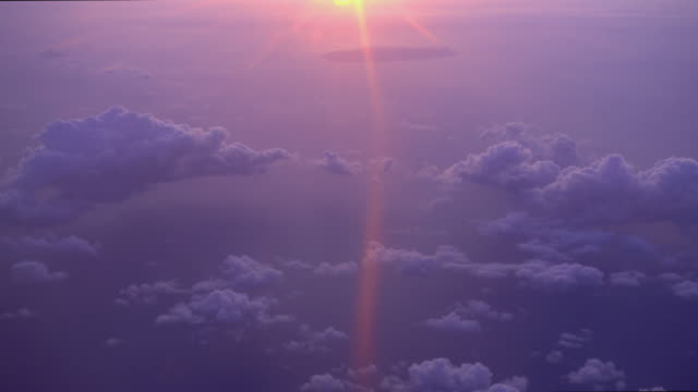 tilt up shot from sea to sky with sunset and horizon - purple stock videos & royalty-free footage