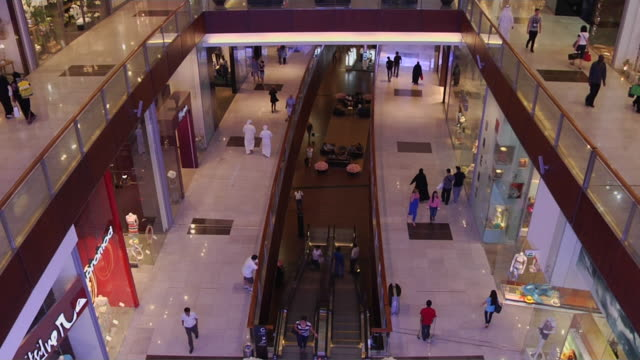 tilt up shot interior dubai mall united arab emirates - real time stock videos & royalty-free footage