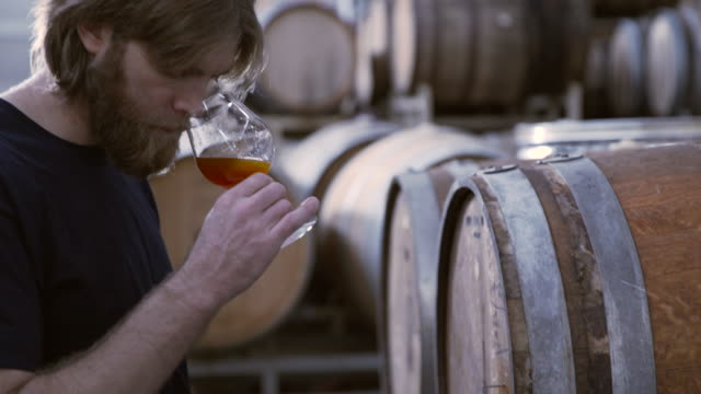 tilt up shot of brewer smelling and tasting beer in warehouse - tasting stock videos & royalty-free footage