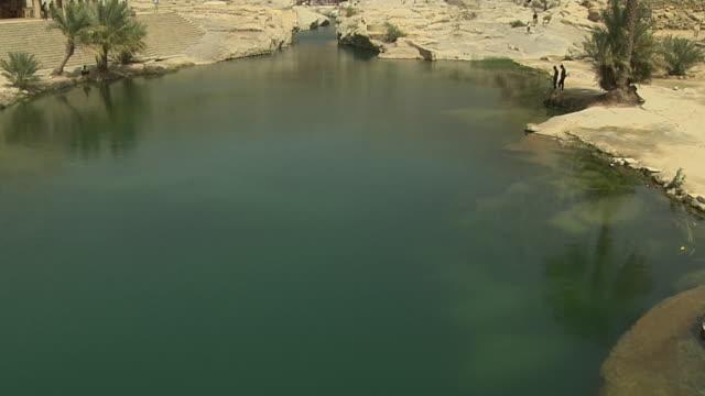 Tilt Up Shot Wadi Bani Khalid Muscat Oman