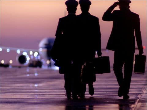 Tilt up silhouetted pilots walking towards stationary aircraft on runway