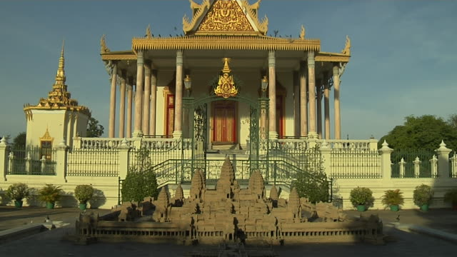 tilt up silver pagoda royal palace phnom penh cambodia - cambodia stock videos and b-roll footage