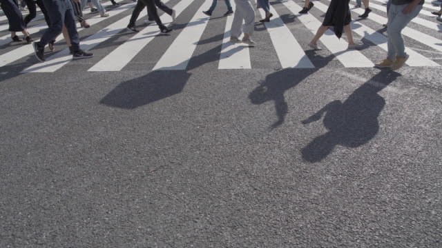 tilt up slow motion shot of pedestrians at shibuya crossing in tokyo, japan - road junction stock videos & royalty-free footage