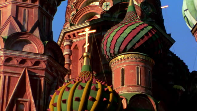 ms tilt up spires + onion domes of st. basil's cathedral / moscow, russia - st. basil's cathedral stock videos and b-roll footage