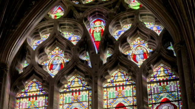 tilt up stained glass in ely cathedral - ornate stock videos & royalty-free footage