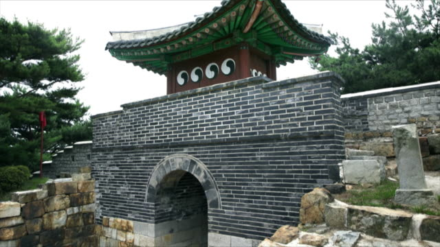 tilt up suwon hwaseong fortress (unesco heritage site) - suwon stock videos and b-roll footage