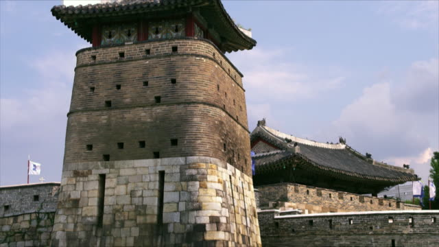 tilt up suwon hwaseong fortress (unesco heritage site) - hwaseong palace stock videos and b-roll footage