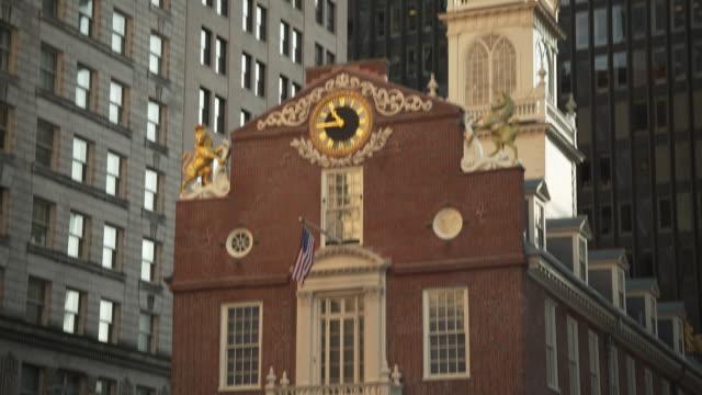 Tilt up the historic Old State House in Boston, Massachusetts, USA.