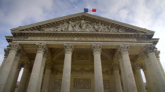 tilt up the panthéon, paris, france - neo classical stock videos & royalty-free footage