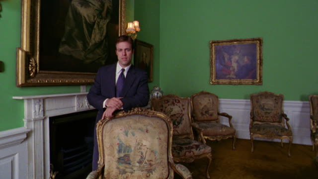 tilt up tilt down portrait businessman leaning on chair in green room in dublin castle / dublin, ireland - 宮殿点の映像素材/bロール