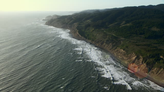 Tilt up to aerial shot of Palomarin Beach and Abalone Point at Point Reyes National Seashore in Marin County, California.