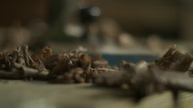 tilt up to close up of wood shavings near hand plane on workshop table / provo, utah, united states - provo stock-videos und b-roll-filmmaterial