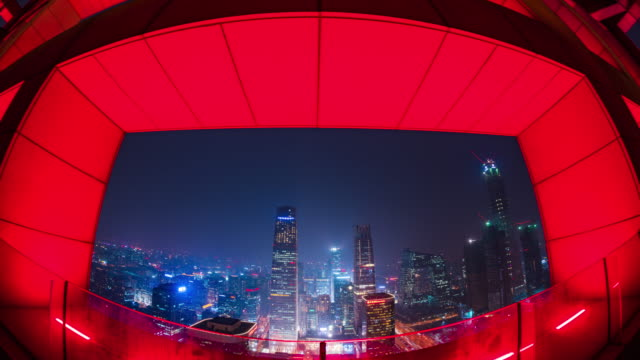 tilt up view of modern beijing financial center inside red frame wall - traffic time lapse stock videos & royalty-free footage