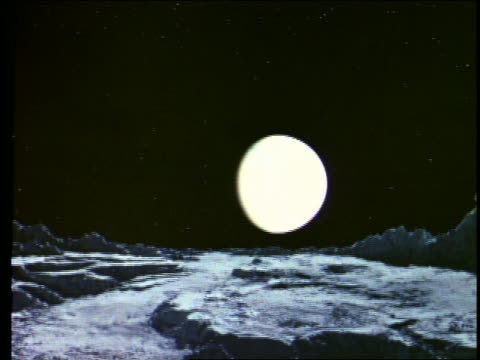 tilt up wide shot of moon bus flying over rocky moon or planet surface in outer space with moon in background - 1968 stock videos & royalty-free footage