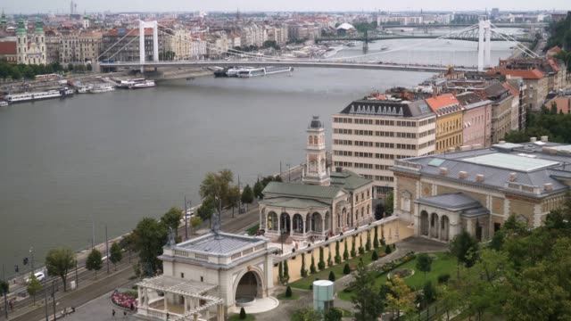 tilt view: cityscape of budapest at day with elisabeth bridge from the castle hill - eastern european culture stock videos & royalty-free footage