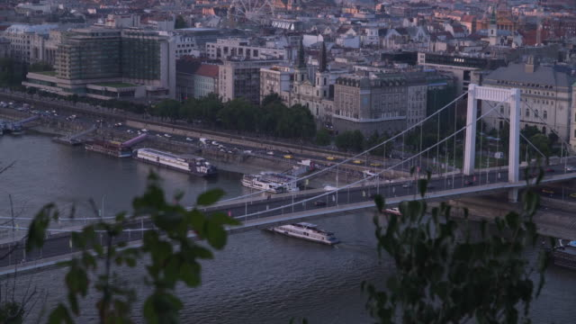 tilt view:  elisabeth bridge with cityscape of budapest at evening from gellért hill - traditionally hungarian stock videos & royalty-free footage