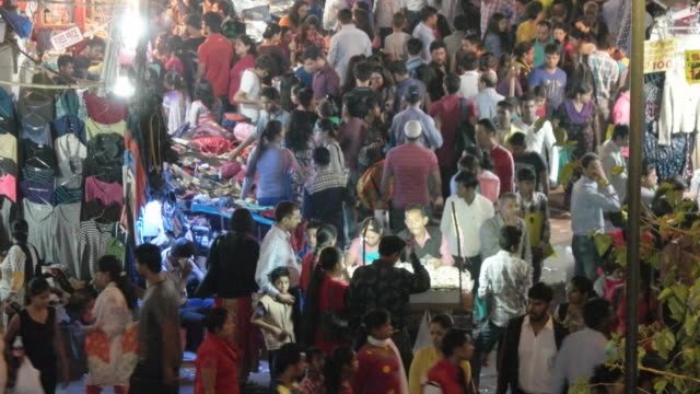A tilt view of a busy market place in Delhi, India