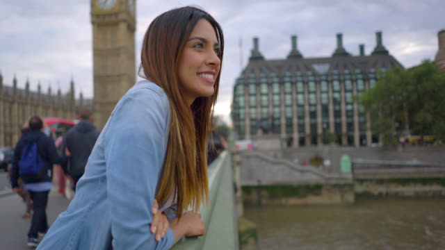 tilt view of a tourist female enjoying the view - big ben stock videos & royalty-free footage