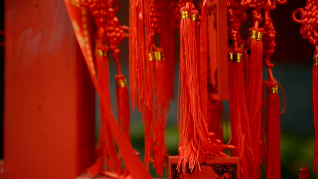 tilt: wishing words on red tag - summer palace beijing stock videos & royalty-free footage