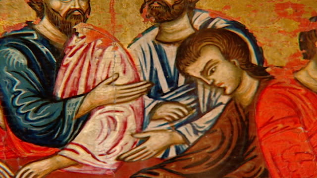 tilt-down of apostles at the last supper from an icon in the saint sergius and saint bacchus church. the church suffered extreme damage during the... - 使徒点の映像素材/bロール
