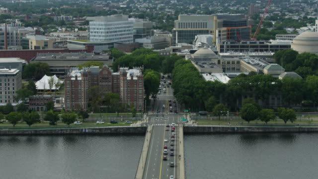 tilt-down shot of the harvard bridge and cambridge - massachusetts stock videos & royalty-free footage