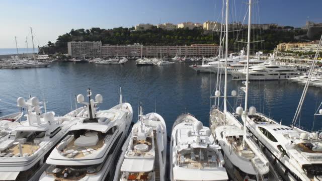 Tilt-down to Superyachts,Yacht Harbour,Port Hercule,La Condamine