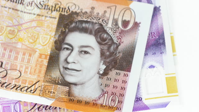 tilt-down to uk bank notes. - pound sterling symbol stock videos & royalty-free footage