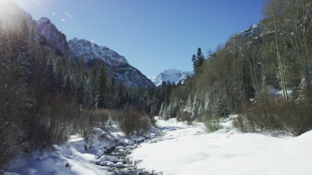 晴れた日にコロラド州ユーレイ外のサンファン山脈 (ロッキー山脈) で冬の森に囲まれた雪に覆われた渓谷の風景を通して流れるストリーム カット ショット ダウン傾斜 - ユアレイ市点の映像素材/bロール