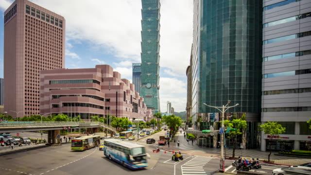 tilting film time lapse of traffic at city center of taipei, taiwan - taipei stock videos & royalty-free footage
