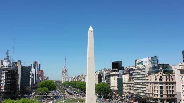 tilting, obelisk landmark in buenos aires and green letters ba - avenida 9 de julio stock videos & royalty-free footage
