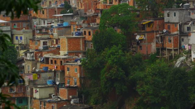 Tilting shot of a favela in Rio de Janeiro, Brazil
