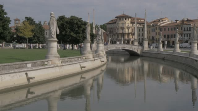 tilting shot of statues and architecture in prato della valle, padua, veneto, italy, europe - prato stock videos and b-roll footage