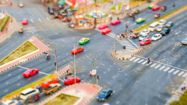 tilt-shift : 4k time lapse interaction road bankok - tilt stock videos and b-roll footage