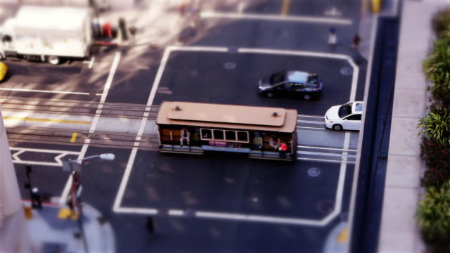 Tilt-Shift Miniature Effect Cable Car in San Francisco