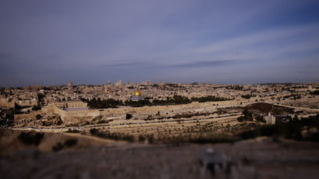 Tilt-Shift Miniature Effect of Jerusalem at Sunrise - Tiny Dome of the Rock and Al-Aqsa-Mosque