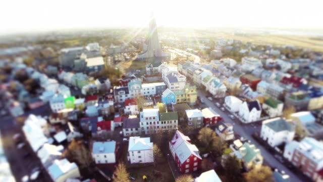 Tilt-shift of Hallgrimskirkja church amidst the city