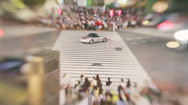 shibuya crossing - tilt-shift timelaps - zebra crossing stock videos and b-roll footage