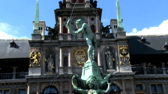HD tilt-up Brabo Fountain Antwerp Belgium