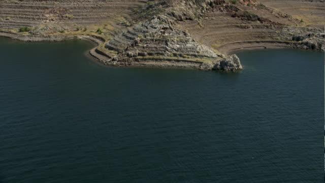 tilt-up shot of las vegas boat harbor - lake mead video stock e b–roll