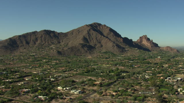 Tilt-up shot of mountains in a suburb in Phoenix