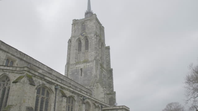 tilt-up shot of the church of st mary the virgin in ashwell - ornate stock videos & royalty-free footage