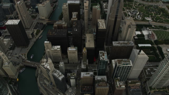 tilt-up shot of the lake michigan seen from above the chicago river - great lakes stock videos & royalty-free footage