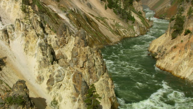 tilt-up shot of the lower yellowstone falls - river yellowstone stock videos & royalty-free footage
