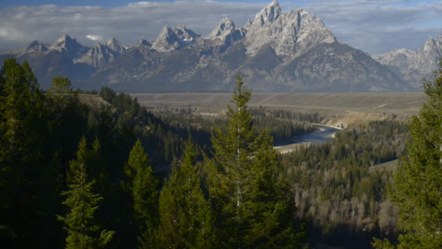 tilt-up to grand tetons and snake river,grand teton national park - grand teton national park stock videos & royalty-free footage