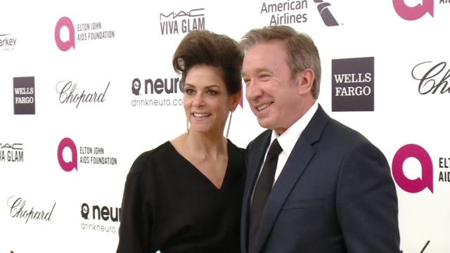 tim allen and jane hajduk at 23rd annual elton john aids foundation academy awards viewing party sponsored by chopard neuro drinks and wells fargo on... - tim allen stock videos and b-roll footage